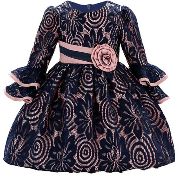 Long Sleeve Infant Baby Girl Dress Lace Flower Baptism Dresses For Girls First Year Birthday Party Wedding Baby Clothes Y19061101