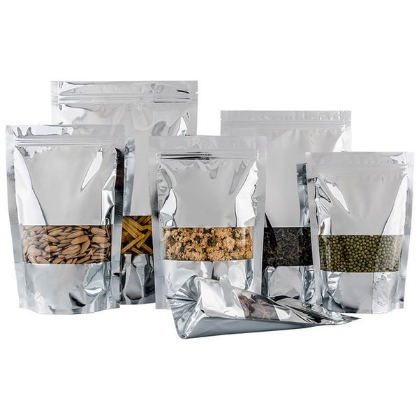Silver Clear Stand Up Aluminum Foil Zip Lock Bags Resealable Heat Seal Plastic Window Bag Food Storage Packing Pouch LX1409