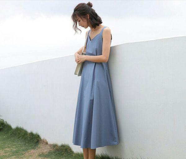Vestido para Mulheres Verão Pure V-necktie Sem Mangas Temperamento A-shaped Nylon Médio-comprimento Solto Com Três Cores Saia