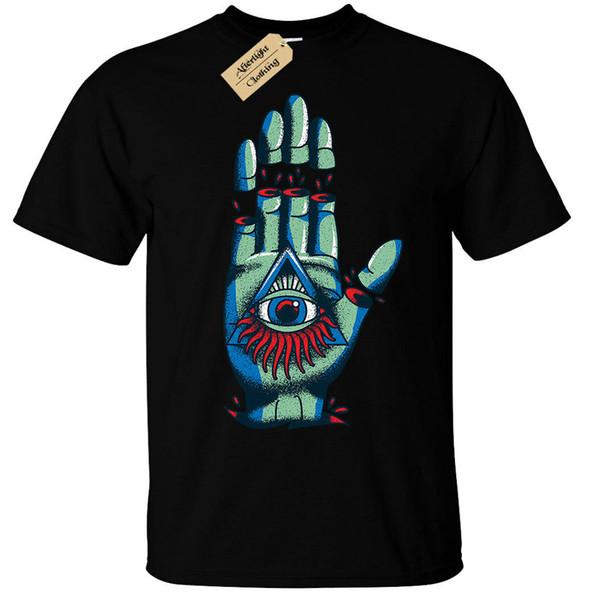 illuminati hand Mens T-Shirt goth rock punk metal mystical Men Women Unisex Fashion tshirt Free Shipping black