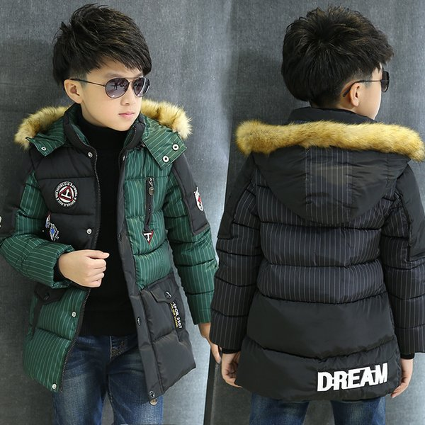 Childrens Winter Jackets Fashion New Jackets For Boys Snowsuit Thickening Outerwear 5-14 Kids Clothing Parka Coats Boy Clothes