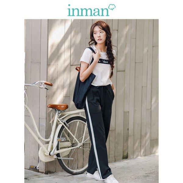 Inman 2019 Yaz Tarzı Nedensel Takım Yuvarlak Yaka Baskılı Moda Suit Kadın Rahat Giyim T Gömlek Ve Pantolon J190716