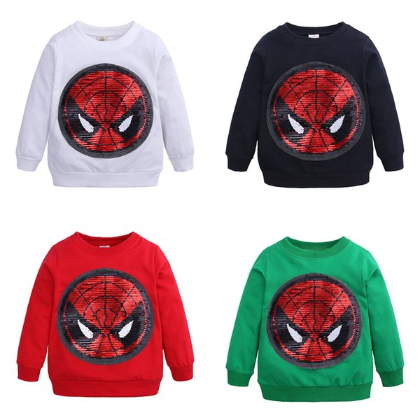 top popular Reversible Sequin Sweatshirt baby Switchable pattem Sweatshirt With Sequins Casual Wild Round Collar long sleeves tees B11 2020