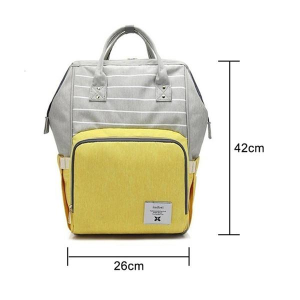 Diapers mode jaune grande capacité multi-fonction Sac de soins pour enfants Voyage Sac à dos rayé bébé Sac à langer au biberon