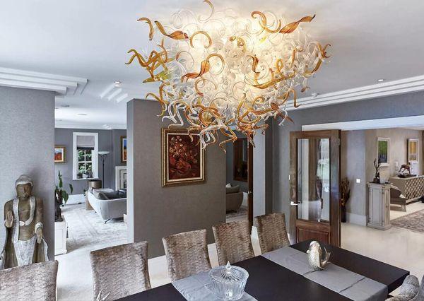 100% vidrio soplado Arte LED araña soplado cristal de Murano colgante de estilo de lámparas de techo, flor de color elegante lámpara