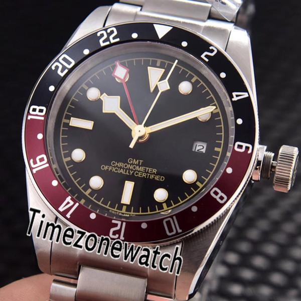 New black bay gmt m79830rb-0004 red preto moldura preta de discagem automática mens watch relógios de aço inoxidável 6 cores barato timezonewatch e05b2