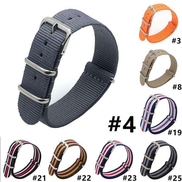 2018  watch strap nylon 24mm Nato Fiber Woven Nylon Watch Strap Black Grey Waterproof Sport Band Steel Buckle 24mm