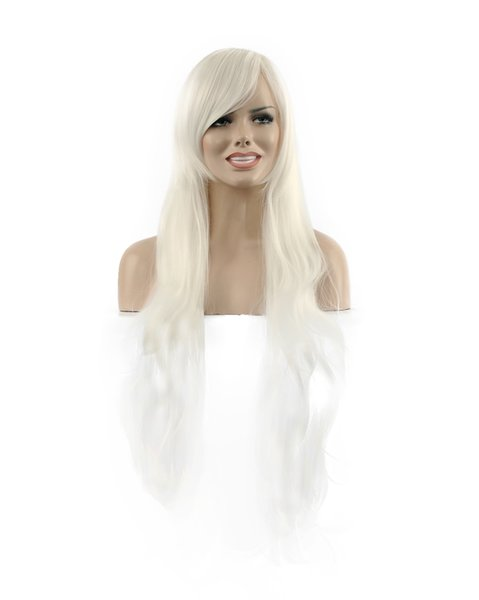 Beautiful Women Long White Oblique Bangs Fiber Wavy Curly Kanekalon Heat Resistant Cosplay Party Hair Full Wig Wigs