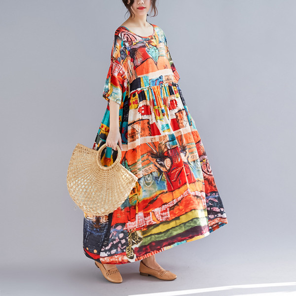 Literary and Art Large Size Women's Loose Medium-length Printed Dresses Wholesale of Fat MM Long Slim Skirts in Summer 2019