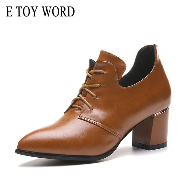 E Toy Word Pointed Toe Thick Heels Spring Autumn Fashion Preppy Style Vintage Leather Shoes Ladies Lace Up Pumps Women Shoes