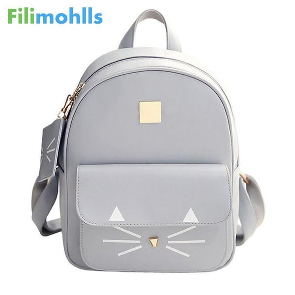 Sıcak Satış Kedi Baskı Sırt Çantası Pu Deri Mini Sırt Çantaları Kadın Okul Çantaları Genç Kızlar Için Çanta Çocuk Sırt Çantası S1304 Y19051405