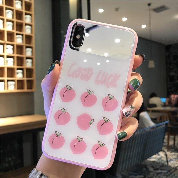 One Piece mirror phone case lovely and fashion For iPhone 6S 7 8 P X XS Designer phone back cover peach