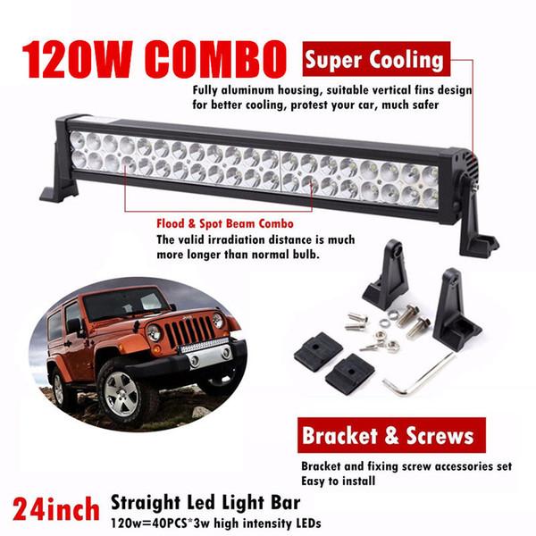 22 inch 120W Car LED Bar Driving Work Light Bar Combo Beam Spot Flood ATV SUV UTE 4X4 Truck Jeep Trailer Off road Lamp