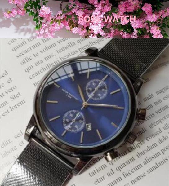 Uomo Orologi Moda Sport orologio al quarzo in acciaio inox maglia nera di marca degli uomini Orologi da polso cronografo