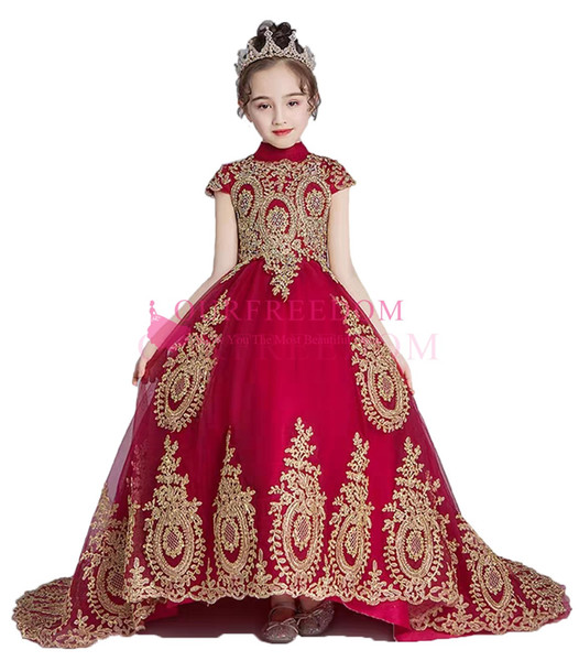 2019 Dark Red High Neck Flower Girls Dresses Gold Appliques A Line Hi Low Princess Girls Pageant Gown Custom Made Hot Sale Real Image
