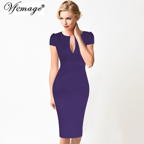 Vfemage Women Sexy Deep V Cap Sleeve Elegant Vintage Slim Business Casual Cocktail Party Fitted Sheath Pencil Bodycon Dress 2181 Y19012201
