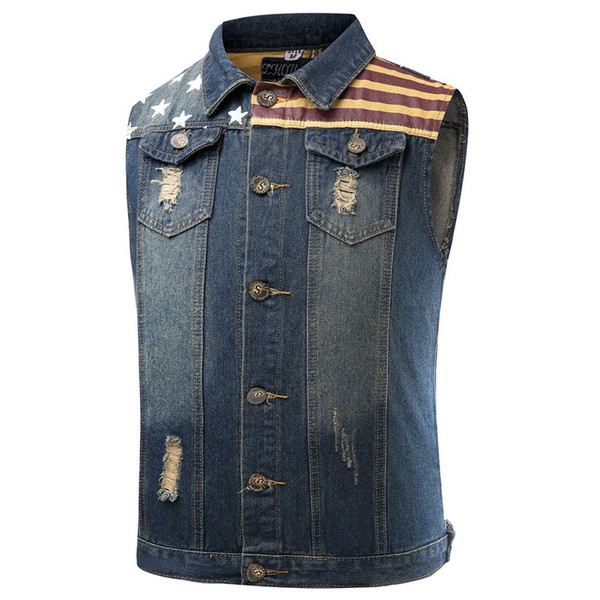 New Arrival Fashion Vintage Men Jeans Vest Jacket Washed Denim Waistcoat Mens Cowboy Sleeveless Jacket Tank Top