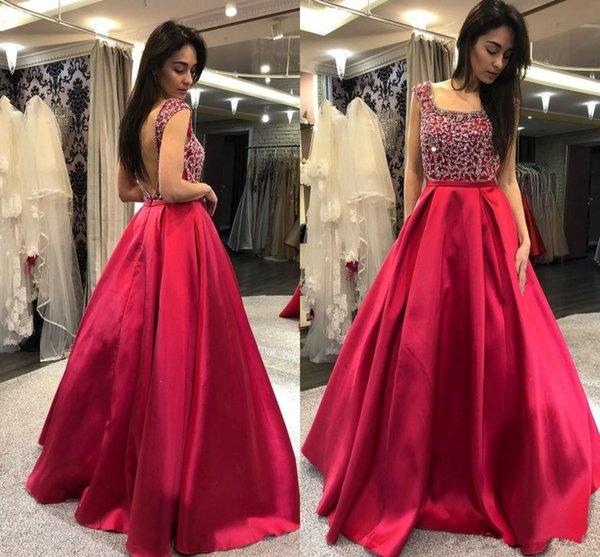 Rose Red A Line Prom Party Dresses Square Backless Sleeveless Floor Length Special Occasion Dress Evening Dresses robes de soiree