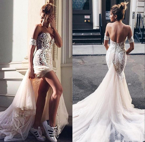 Pallas Couture Mermaid Slit Front Wedding Dresses 2019 Champagne Long Train Off Shoulder Sexy Country Beach Berta Lace Bridal Wedding Gowns