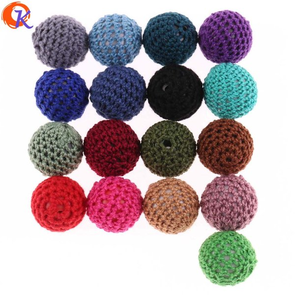 wholesale Hand Made Crochet Beads 20mm 50Pcs DIY Necklace Pacifier Chains Accessories Acrylic Beads For Teether Baby
