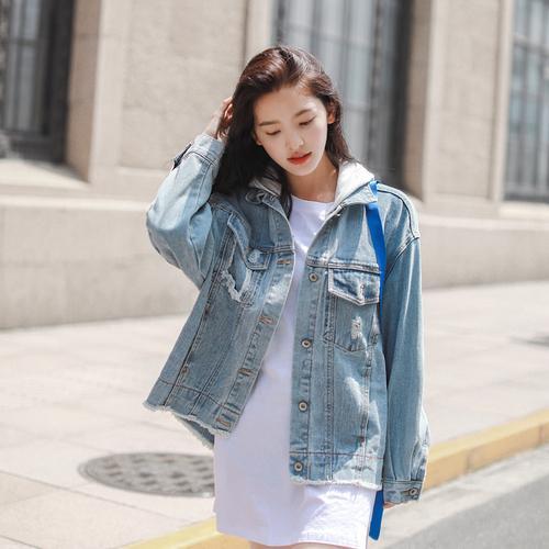 c3fd5550c New Autumn Hole Hooded Denim Jacket Harajuku Casual Long Sleeve Womens  Bomber Jacket plus size Women Jeans Tops