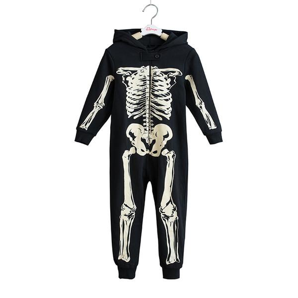 Skeleton Autumn Winter Teens Overalls Jumpsuit Kids Hooded Sleepwear Children Onesie Sleepers Pajamas Halloween Costumes J190520