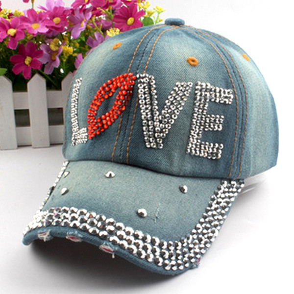 Fashion Girls Rhinestone Embedded Denim Caps Women Baseball Cap Ladies Summer Adjustable Hat