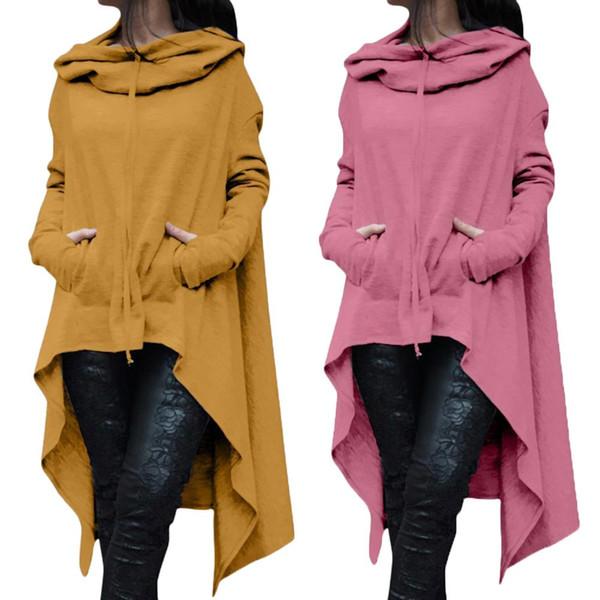 autumn plus size women asymmetric hoodie solid color long sleeve hem fishtail hoodie sweatshirt pullover loose oversized