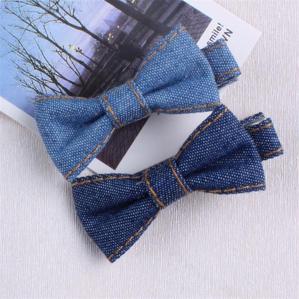 Neue Kinderhaarschleife Haarspangen Denimschleife Haarschmuck Headwear Haarnadeln brasilianischen Stil Seitenclip