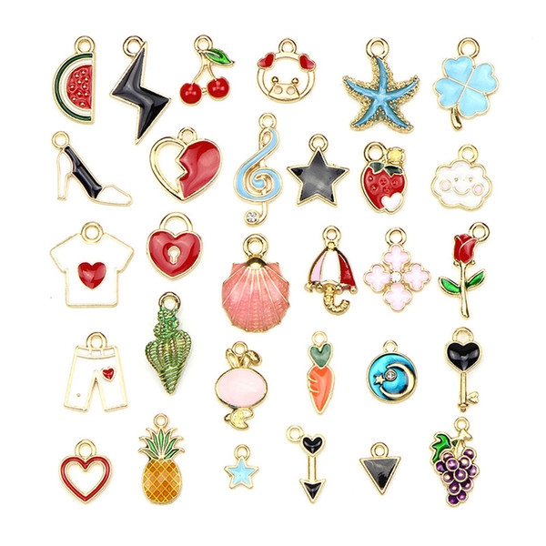 30PCS/Set Fruit Heart Star Flower Pendant Charms Mixed Enamel Metal Charms DIY Craft Jewelry Making Findings
