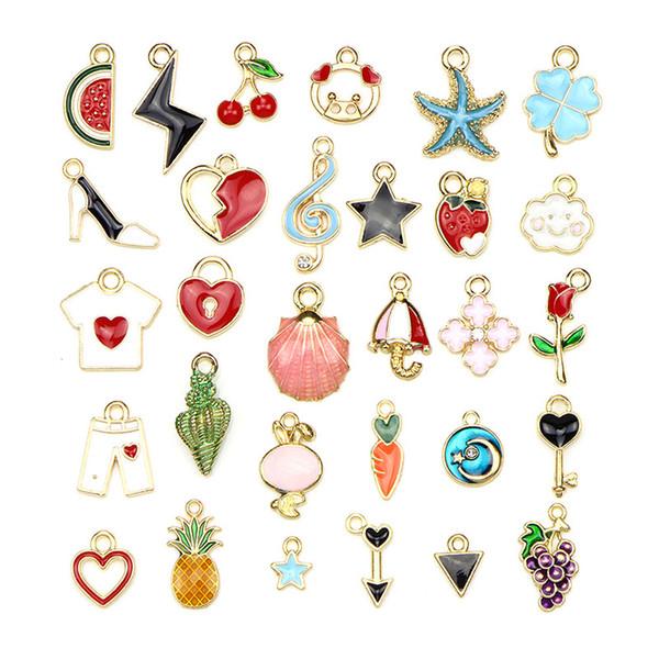30pcs / ensemble fruit coeur étoile fleur pendentif charmes mixte charmes émail métal bricolage artisanat fabrication de bijoux