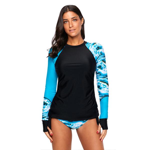 New Fashion Long-sleeved Swimsuit Women Round Neck Conservative Print No Steel Ring Split Swimsuit Bikini jooyoo