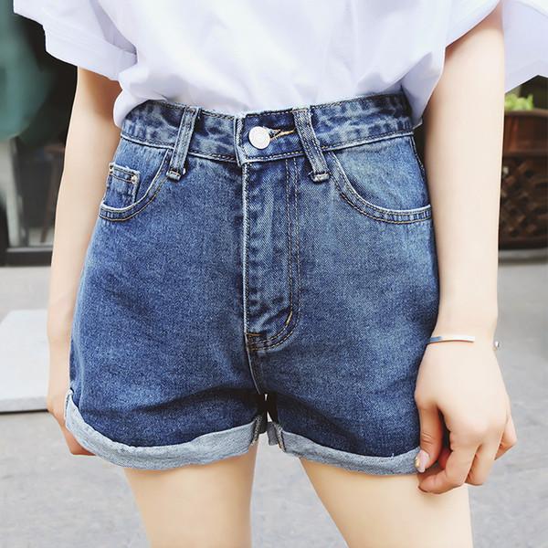 Pantaloncini di jeans a vita alta Taglia XL Jeans corti femminili per le donne 2016 Estate Pantaloncini hot da donna denim a tinta unita