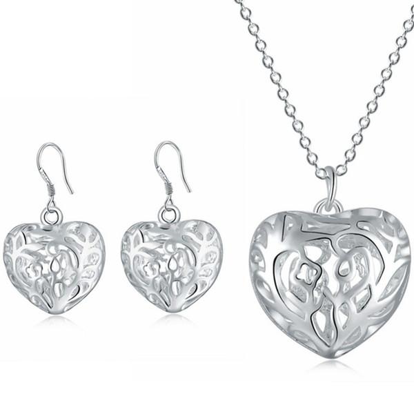 925 Stempel Silber Farbe Einfache Hohle Herz Halskette Ohrringe Für Frauen Hohe Qualität Silber Baum Des Lebens Halskette Ohrringe Set