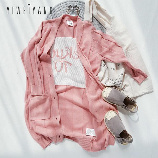 2019 Printemps Nouveaux Produits Filles Long Cardigan Édition Coréenne De Mode V Col Mince Chandails Grandes Filles Rose Manteau Parent Pulls