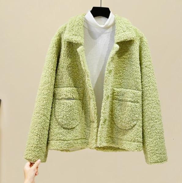 hiver veste en peau de mouton Manteaux d'hiver coréenne femmes manches longues poche femmes Veste en laine lambswool femme coatt T191026