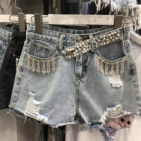 Mulheres Denim Shorts Com Pérolas Perolizadas 2019 Moda Verão Streetwear Ladies Ripped Buraco Diamante Borla Jeans Shorts r1175