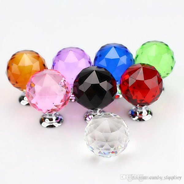 30mm Diamond Crystal Glass Door Knobs Drawer Cabinet Furniture Handle Knob Screw Furniture Accessories 8 colors