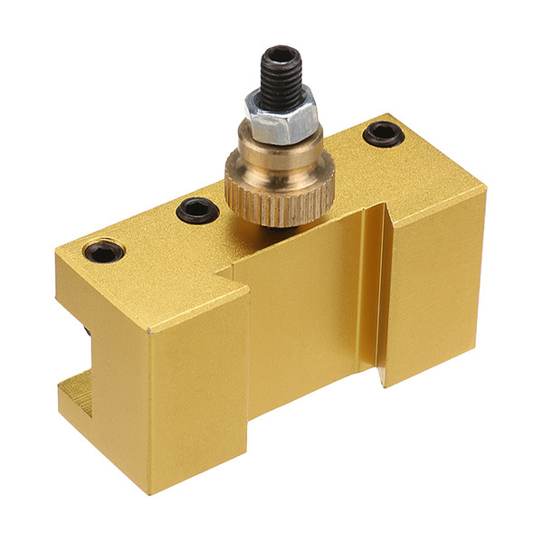 1/4-3/8 Inch 20x25x50mm Aluminum Turning and Facing Holder for Quick Change Tool Post Holder Gold