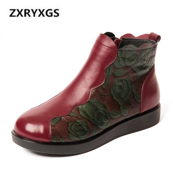 New Retro Printing Cow Leather Boots for Women 2018 Large Size Winter Snow Boots Women Shoes Non-slip Comfort Warm