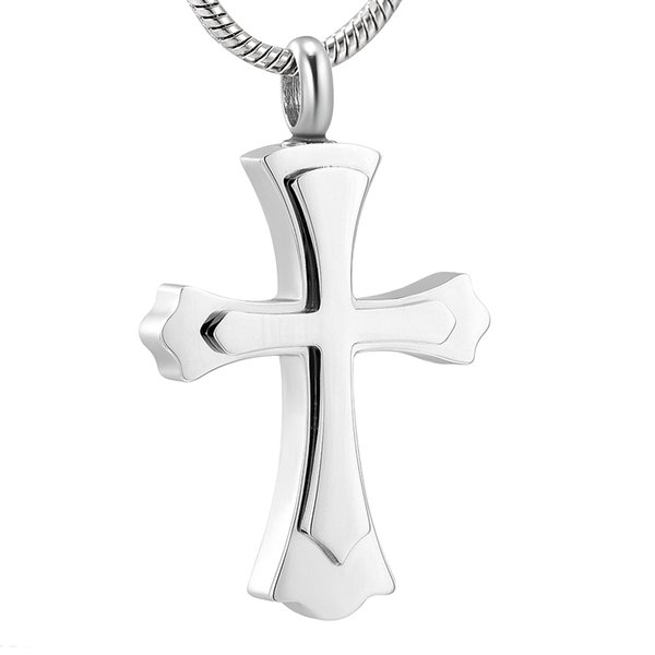 ZZL163 High Quality Silver, Gold, Pink Gold, Black Tone Cross Cremation Pendant Necklace for Ashes Memorial Urn Locket