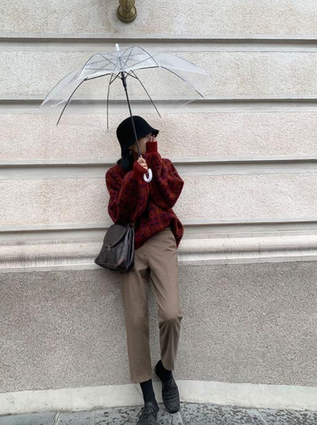 pantalons femme nouvelle automne / hiver 2019 troncs de tuyaux droites neuf points de plus montrent farceur mince pantalon de costume de loisirs en tissu