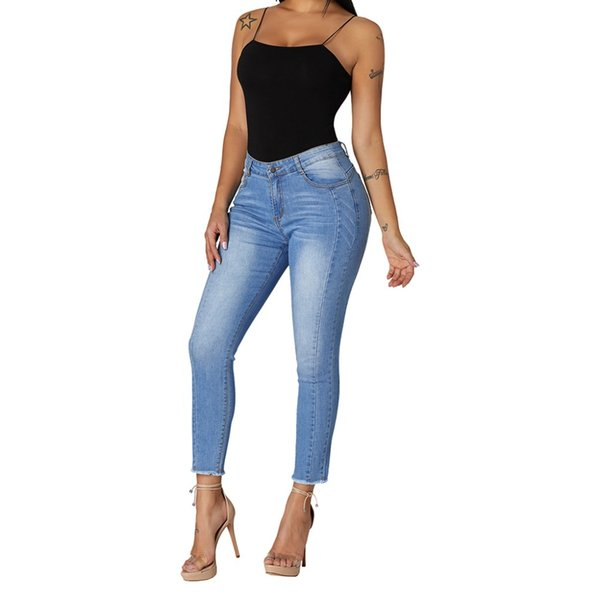 Womens Plus Size Skinny Classic Bib Overalls Jeans Irregular Ribbed Holes Adjustable Cross Strap Solid Long Pants Suspender