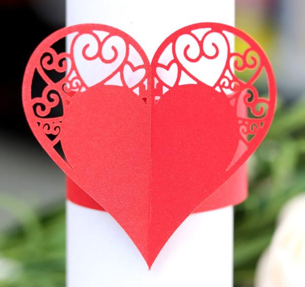 Tovaglioli A Cuore.Acquista Cuore Design Tovaglioli Tovaglioli Taglio Di Carta Tovagliolo Anelli Titolari Tovagliolo Di Carta Banda Matrimoni Partito Decorazione Della