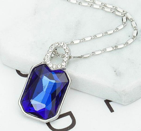(blue) Wholesale Price Sell Simple fashion Geometric square crystal necklace Fashionable temperament joker clavicle chain