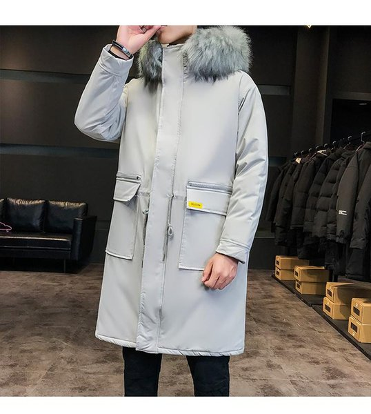 Gray Warm Parka Men