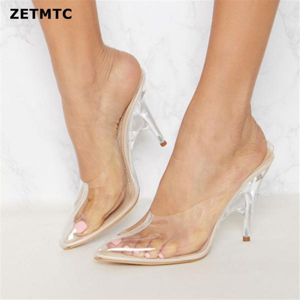 2019 Verão Novo Estilo Chinelos Moda Cristal Saltos Grossos Transparente Cinto Palavra Arrastando o dedo do pé Simples Vestindo Sandálias Das Mulheres 35-43