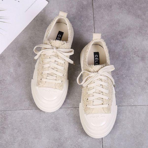 Lã Calçados casuais 2019 Outono E Hair Fashion Chefe Inverno Nova Rodada Plano Cordeiro Low Sapatos e veludo sapatos femininos