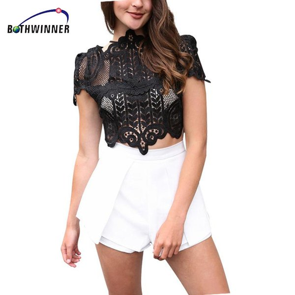 Bothwinner Summer Style Elegant Black Lace Crochet Crop Top Girls Short Sleeve White Women Sexy Hollow Out Tank Tops Y190509