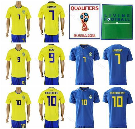 Maglia da uomo Svezia Zlatan Ibrahimovic Set da calcio Coppa del mondo 2018 Marcus Berg Maglia da calcio Sebastian Larsson Kit con pantalone corto